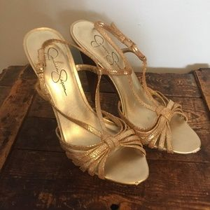 Jessica Simpson Gold Strappy Heel with Wooden Soke